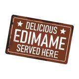 L'edimame délicieux a servi ici le signe rouillé sale de plat d'icône en métal illustration libre de droits