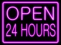 L'effetto al neon apre 24 ore Immagine Stock