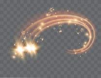 L'effetto della luce magico della stella di incandescenza di vettore astratto con sfuocatura al neon ha curvato le linee Traccia  illustrazione di stock