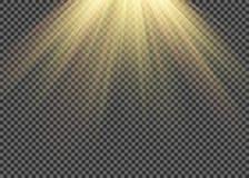 L'effetto speciale leggero del chiarore con i raggi di luce e di magia scintilla Insieme trasparente di effetto della luce di vet royalty illustrazione gratis