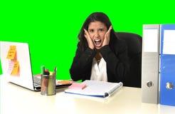 L'effort de douleur de femme d'affaires fonctionnant au bureau a isolé le fond vert de clé de chroma photo stock