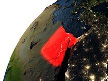 L'Egypte en rouge sur terre la nuit Photo stock