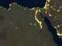 L'Egypte la nuit sur terre de planète Photo stock