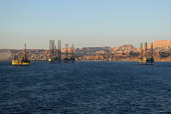 L'Egypte - plates-formes pétrolières Photos stock