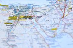 L'Egypte sur la carte et son capital photo stock