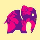 L'elefante ed il fiore astratti con fondo Illustrazione del grafico di vettore , progettazione di vettore Immagini Stock