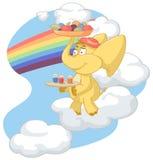 L'elefante giallo porta le bevande ed i frutti Immagini Stock Libere da Diritti