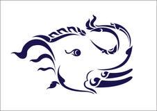 L'elefante maschio tiene un tronco illustrazione di stock