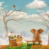 Elefante su un banco nel cielo illustrazione vettoriale