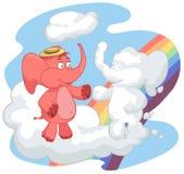 L'elefante rosso accoglie con una nuvola Fotografie Stock Libere da Diritti