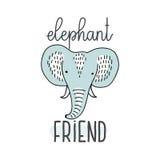 L'elefante sveglio stilizzato ha isolato l'illustrazione di vettore con la citazione dell'amico dell'elefante Modello piacevole p Fotografie Stock
