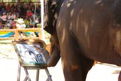 L'elefante tailandese sta disegnando l'immagine Fotografia Stock