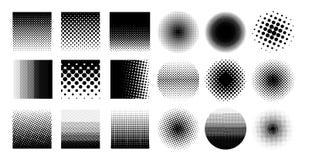 L'elemento di semitono del cerchio della raccolta, grafico astratto monocromatico per DTP, precomprime o concetti generici Illust Fotografia Stock