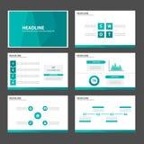 L'elemento infographic del poligono verde blu e la progettazione piana dei modelli della presentazione dell'icona hanno messo per royalty illustrazione gratis