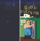L'elettricista maschio comprende l'elettricità nella città scura Fotografia Stock