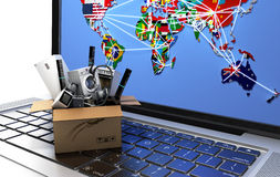 L'elettrodomestico di concetto online di acquisto o di commercio elettronico in scatola sulla tastiera 3d del computer portatile  Immagini Stock