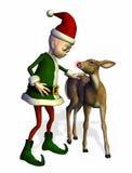 L'elfe de Santa avec jeune Rudolph - comprend le chemin de découpage Image libre de droits