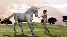 L'elfo e l'unicorno Immagine Stock