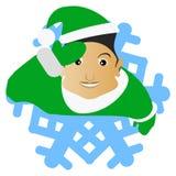 L'elfo Santa Claus il castana sotto forma di fiocco di neve un'icona sul fone bianco dlya la stampa, magliette, magliette, tessut illustrazione di stock