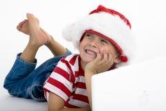 L'elve de Santa passant la commande de Noël photographie stock