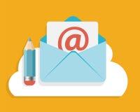 L'email plat de concept de construction écrivent le vecteur d'icône Photos stock