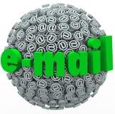 L'email Word au symbole signe le message de courrier électronique Images stock