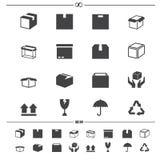 L'emballage enferme dans une boîte des icônes Photos stock