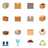 L'emballage enferme dans une boîte des icônes Images stock