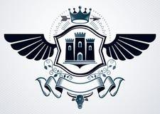 L'emblème chic fait avec l'aigle s'envole la décoration, château médiéval illustration de vecteur