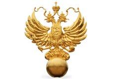 L'emblème russe d'état - un double aigle dirigé Images stock