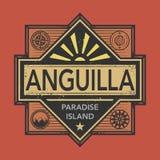 L'emblema dell'annata o del bollo con testo Anguilla, scopre il mondo Fotografie Stock Libere da Diritti