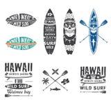 L'emblema praticante il surfing ha messo 2 Fotografia Stock Libera da Diritti