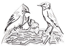 L'emboîtement de l'oiseau Images stock