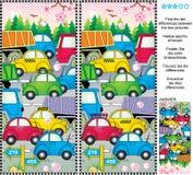L'embouteillage de ressort ou d'été trouvent le puzzle de photo de différences Image libre de droits