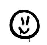 L'emoji de jofull de graffiti a pulvérisé dans le noir sur le blanc Photo stock