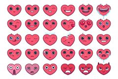 L'emoji mignon de coeur a placé 30 morceaux de kawaii et émoticône très précise de coeurs photographie stock libre de droits