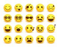 L'emoticon sveglio di vettore del fronte sorridente ha messo con le espressioni facciali felici illustrazione vettoriale