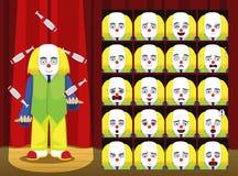 L'emozione del fumetto del costume di Yellow Hair Juggling del pagliaccio affronta l'illustrazione di vettore Immagine Stock Libera da Diritti