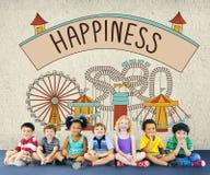 L'emozione felice di felicità gode del concetto di rilassamento di divertimento Fotografia Stock