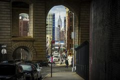 L'Empire State Building vu de Brooklyn Image libre de droits