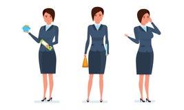 L'employé de bureau communique avec des clients par le téléphone, statistiques de recherches, calcule illustration stock