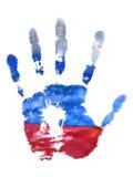 L'empreinte de la main gauche des couleurs de drapeau de Fédération de Russie, gouache Vacances de conception de timbre de la Rus Photos stock