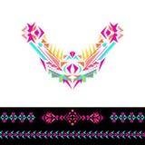 L'encolure, les modèles et la frontière de vecteur conçoivent pour la mode Copie tribale ethnique de cou Embellissement de coffre illustration stock