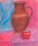l'Encore-vie avec la cruche rouge-brun et le pot rouge Images stock
