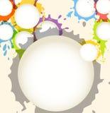 L'encre de couleur éponge le fond abstrait de nuages de la parole Photos libres de droits
