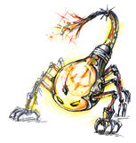l'energia consuma il mostro, lampadina dello scorpione Fotografie Stock Libere da Diritti