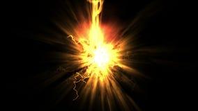 l'energia del fuoco di esplosione 4k, laser rays i fuochi d'artificio leggeri il fulmine, magia della particella di radiazione io stock footage
