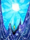 L'energia soleggiata del sole potente di spirito e dell'essere umano si collega all'universo Fotografie Stock