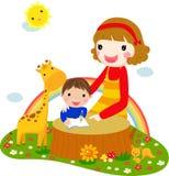 L'enfant écoutant sa mère a affiché un boo de fabulation Image stock