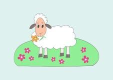L'enfant aiment le retrait de petits moutons doux Photo stock